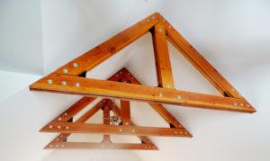 wood beams against white walls
